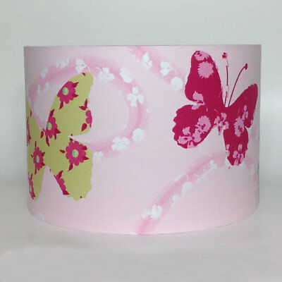 Pink Floral Butterflies Patchwork Large Fabric Light Shade