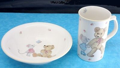 Mikasa TEDDY Child Cereal Bowl AND Tall Mug Bear Mouse Butterfly Strawberries