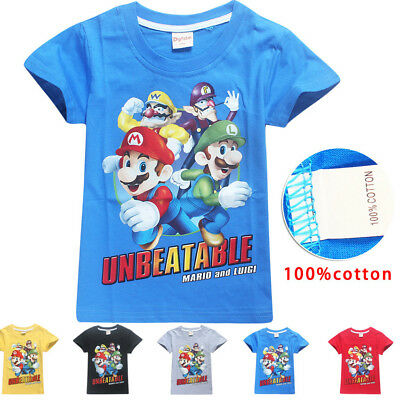 Super Mario Luigi cartoon Kids T-shirts Tops Shirt Costume tshirts 100% cotton A