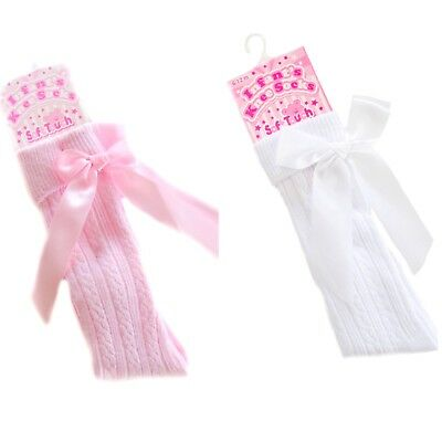 Baby Girl Spanish / Romany Style Knee High Socks Satin Bows Pink / White