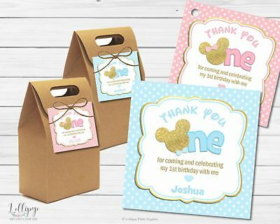 12X Mickey Minnie Mouse Thank You Favour Gift Swing Tags Labels Bag 1St Birthday