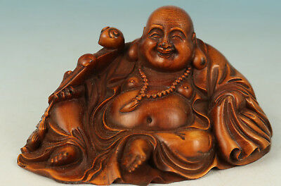 China Boxwood Hand-Carved Statue Lay Buddha Monk Decoration Figure