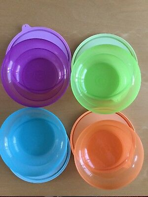 Set 4 Differant Coloured Tupperware Cereal Bowls