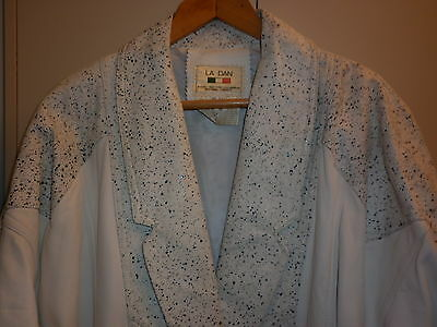 "FANTASTIC 80s WHITE LEATHER ""PAINT SPLATTER"" JACKET  SIZE 14 EXCELLENT CONDITION"