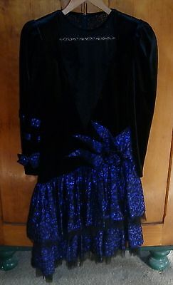 VINTAGE 1980s FRENCH BLACK AND PURPLE PARTY DRESS  SMALL EXCELLENT CONDITION