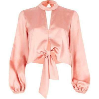 Ex River Island Womens Choker Neck Bow Tie Cropped Top Ladies Satin Blouse 6-18