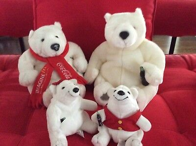 Lot of 4 Coca-Cola Plush Bears-from McDonald's Conventions 1998 & 2008