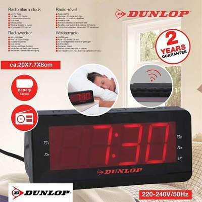 Radiosveglia FM AM Doppio Allarme Display LED Snooze Sleep Radio Sveglia Dunlop