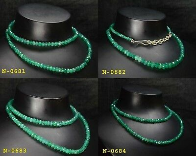 Natural Gemstone Green Onyx Rondelle Faceted Beads Party Wear Necklace