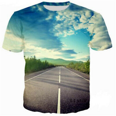 New Women Men Casual 3D T-Shirt Scenery in the Road Print Short Sleeve Tops Tee