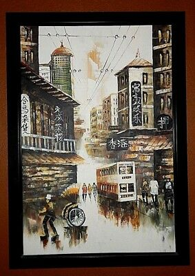 Hong Kong, Original oil painting. Inspired by the early years. Beautiful Colors.