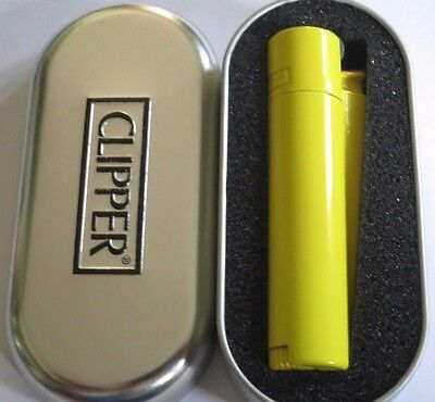Genuine Clipper Lighter Metal Vintage YELLOW Refilable Adjustable + Gift Box