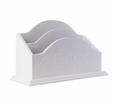Caja Cartas briefkiste Soporte de Blanco Antiguo Rosali madera newsholder tabla