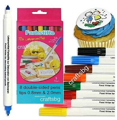 8x DOUBLE SIDED Food Pens Color Marker EDIBLE INK WRITER Cake Sugarpaste Cupcake