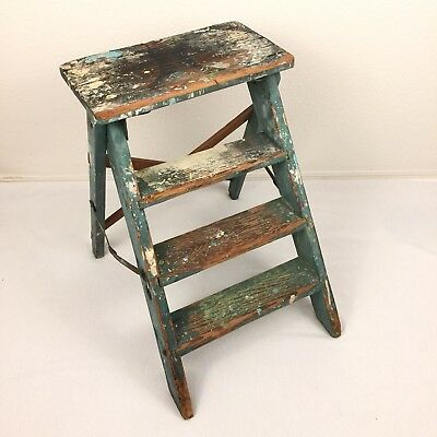 Vintage Wood Step Ladder Green Paint Splatter Chippy Rustic Farmhouse Garden