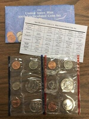1991 United States US Mint Uncirculated Coin Set FREE SHIPPING
