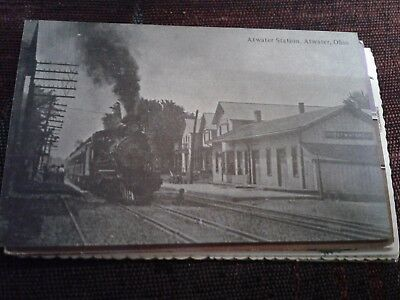 Vintage POSTCARD Atwater Station Atwater Ohio Train Railroad