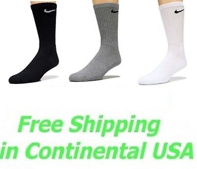 Nike Performance Cotton Cushioned Crew Socks Mens Black White Gray Large 8-12