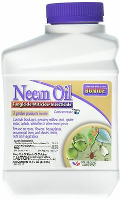 Neem Oil Fungicide Miticide Insecticide Concentrate 16 fl. oz. New