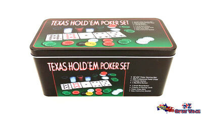 Professional 200Pcs Texas Hold'em Holdem Poker Chip Set Card Game Party CK80201