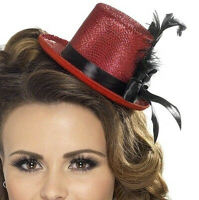 Ladies Mini Top Hat with Ribbon & Feather Hen Party Red by Smiffys New