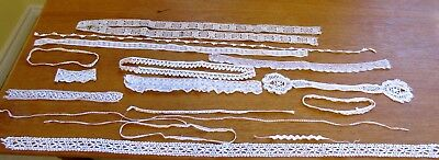 Antique Lace Trims Lot Vintage Edgings 8 Yards Dolls Crafts White Ivory Cream