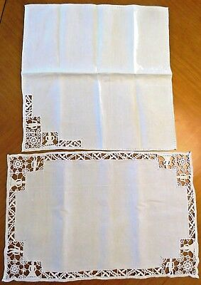Vintage Placemats Napkins Needle lace Linen Lace Table Set Reticella Figural