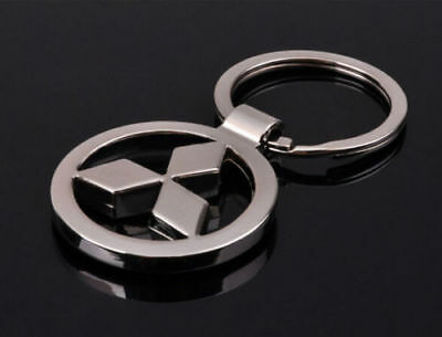 Mitsubishi 3D Chromed Car Logos Titanium Key Chain Keychain Ring Keyfob Metal