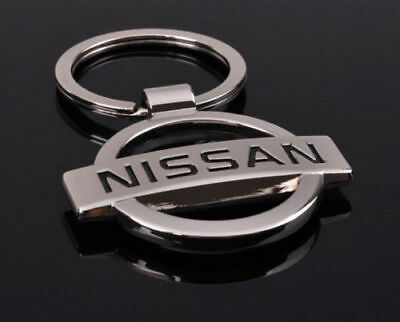 NISSAN 3D Chromed Car Logos Titanium Key Chain Keychain Ring Keyfob Metal