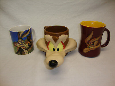 3 Wile E. Coyote Mugs / Cups Looney Tunes Warner Brothers Bros Road Runner