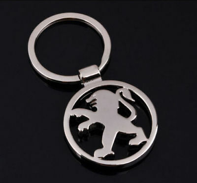 Peugeot 3D Chromed Car Logos Titanium Key Chain Keychain Ring Keyfob Metal