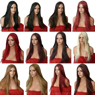Cheap Women Long Hair Full Wig Poker Straight Synthetic Heat resistant Wigs O