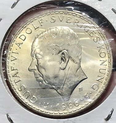 1966 Sweden Silver 5 Krons. Nice Collector Coin For Your Collection Or Set