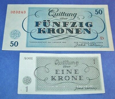 Rare Original Ww2 Theresienstadt Ghetto 1 & 50 Kronen Currency Banknotes