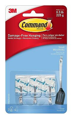 Command 17067CLR Small Wire Hook with 4 Strips - Clear (Pack of 3)