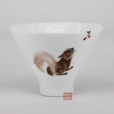 Hand Painted Squirrel A Chinese Jingdezhen Famille-rose porcelain tea cup 60cc