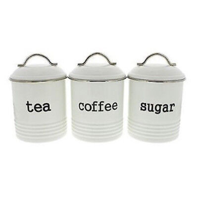 D.LINE Colonial Set of 3 Metal Tea/Coffee/Sugar Canisters Storage Tins 1L White!