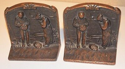 Pair of Vintage Verona Bronzed Cast Iron Bookends Praying Peasant Farmers
