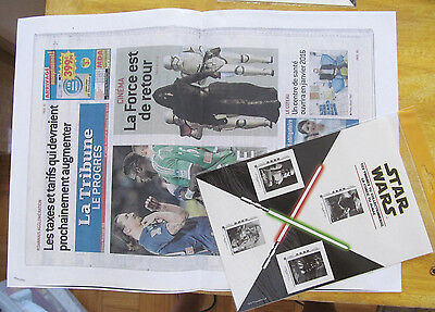 STAR WARS Planche collector 4 TIMBRES 2015 sous blister + copie article journal