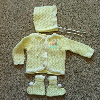 NEVER USED Vintage Newborn Baby or Doll Lacey Sweater Set Booties Bonnet Yellow