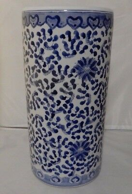 Ceramic Umbrella Stand White with Blue Hearts Flowers and Leaves