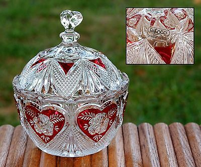 Vintage Ornate Trinket Dish 24% Lead Crystal Glass Red To Clear Germany Enesco