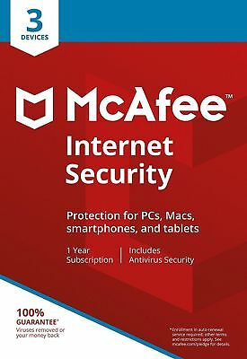 McAfee Internet Security 2018 3 Device / 1 Year Antivirus