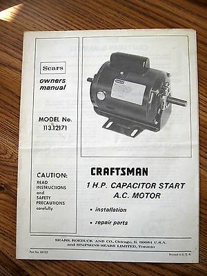 Sears CRAFTSMAN Mod.No.113.12171 1-Horse A.C. MOTOR - Owner's MANUAL
