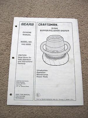 SEARS Craftsman 12-Volt BUFFER/POLISHER Mod. No.646.10690 - OWNERS' MANUAL