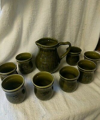 MCM Royal Goedewaagen Gouda Holland 8 Green Ceramic Cups & Pitcher Country Farm