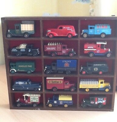 Diecast model car display cabinet, complete with 15 vehicles