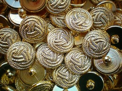 K205 18mm 28L Light Gold Knot Twisted Rope Shank Jacket Plastic Craft Buttons