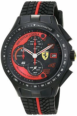Ferrari Men's 830077 Race Day Chronograph 44mm Black/Red Watch 0830077