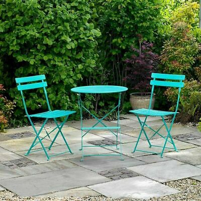 Wido 2 SEATER TURQUOISE METAL BISTRO SET FOLDING PATIO OUTDOOR DINING CHAIR